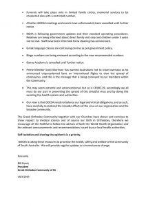 GOCSA COVID -19 Cancellation